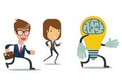 Kreskówek ludzie biznesu biegają po żarówki Lider zespołu rywalizacja Płaski projekt, wektorowa ilustracja ilustracja wektor
