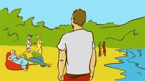 Kreskówek ludzie Na plaży Fotografia Stock