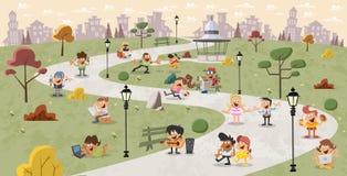Kreskówek ludzie w parku Fotografia Stock