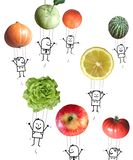 Kreskówek ludzie w powietrzu z owoc i warzywo balonami ilustracji