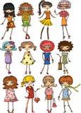 Kreskówek modne dziewczyny Zdjęcia Royalty Free