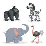 Kreskówek modni stylowi afrykańscy zwierzęta ustawiający Afrykański słoń, goryl małpa, zebra i struś, Zamknięci oczy i rozochocon Obraz Royalty Free