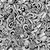 Kreskówek pociągany ręcznie doodles handmade, szwalny bezszwowy wzór Zdjęcia Stock