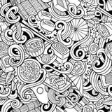 Kreskówek pociągany ręcznie doodles japońskiej kuchni bezszwowy wzór Obraz Royalty Free