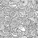 Kreskówek pociągany ręcznie doodles japońskiej kuchni bezszwowy wzór Zdjęcia Stock