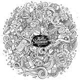 Kreskówek pociągany ręcznie doodles obozowa ilustracja Obrazy Royalty Free