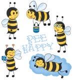 Kreskówek pszczół ilustraci wektorowy set Fotografia Stock