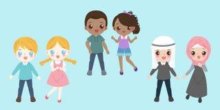 Kreskówek różnorodni dzieci ilustracja wektor