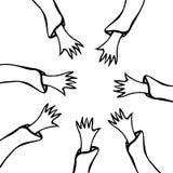 Kreskówek ręk rozciągliwość W kierunku Each Inny Ręki Podnosić Różne rasy Jednoczyć Wektorowy illustraition ilustracja wektor