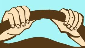 Kreskówek ręki na kierownicie odizolowywającej na błękicie Zdjęcia Stock