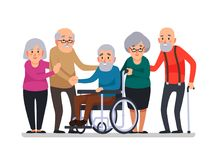 Kreskówek starzy ludzie Szczęśliwi starzejący się mieszkanowie, niepełnosprawny senior na wózku inwalidzkim i starsza osoba miesz ilustracji
