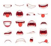 Kreskówek usta Wyraz twarzy zaskakiwał usta z zębu szokiem krzyczy uśmiechniętą i zjadliwą warga wektoru ilustrację royalty ilustracja