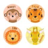 Kreskówek ustaleni Wektorowi zwierzęta stawiają czoło, cztery przedmiota Małpa, lew, tygrys, żyrafa royalty ilustracja