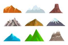 Kreskówek wzgórza i góry ustawiający, wektory odizolowywający krajobrazowi elementy Obraz Royalty Free