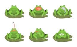 Kreskówek Zielonych żab charakterów ikony Śliczny set wektor ilustracji
