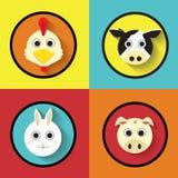 Kreskówek zwierząt gospodarstwa rolnego ikony Płaski wektor Obraz Royalty Free