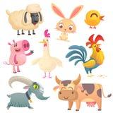 Kreskówek zwierzęta gospodarskie Wektorowa ilustracja cakle, królika królik, kurczak, świnia, karmazynka, kogut, kózka i krowa, Obraz Royalty Free