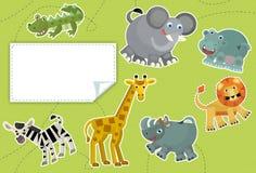 Kreskówek zwierzęta ilustracja dla dzieci - etykietka - Zdjęcie Stock