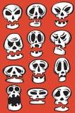 kreskówka łatwa redaguje emoticon wizerunek ablegrować ustalone czaszki target1910_0_ wektor ilustracja wektor