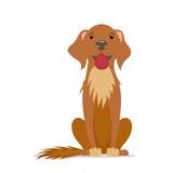 Kreskówka śliczna, życzliwy duży brązu pies siedzi prostego, frontowego widok, Obraz Royalty Free