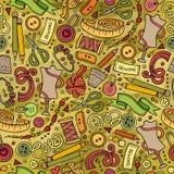 Kreskówka śliczna ręka rysujący Handmade bezszwowy wzór Zdjęcia Stock