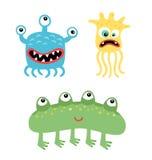 Kreskówka śliczni, śmieszni potwory i Wektorowi drobnoustroje odizolowywający na bielu Obraz Stock