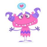 Kreskówka śliczny i chłodno purpurowy potwór w miłości St walentynek wektorowa ilustracja kochać potwora i ściskać Zdjęcia Royalty Free
