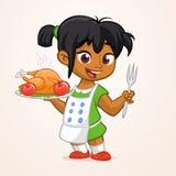 Kreskówka śliczny mały arab lub amerykanin dziewczyna w fartuch porci piec dziękczynienie indyka Obraz Royalty Free