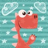 Kreskówka śmieszna śliczny, Dino ilustracja ilustracji
