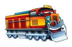 Kreskówka śmieszna i szczęśliwy przyglądający elektryczny pociąg - odizolowywający na białym tle ilustracji