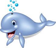 Kreskówka śmieszny błękitny wieloryb na białym tle ilustracja wektor
