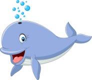 Kreskówka śmieszny błękitny wieloryb odizolowywający na białym tle royalty ilustracja