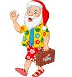 Kreskówka Święty Mikołaj na wakacje z walizką ilustracji