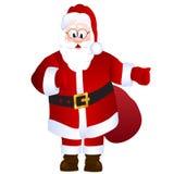 Kreskówka Święty Mikołaj z torbą z prezentami Obraz Royalty Free