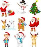 Kreskówka Święty Mikołaj z wiele zwierząt kolekcji setem ilustracja wektor