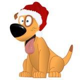 Kreskówka żółty pies w Święty Mikołaj kapeluszu wektorze Zdjęcia Royalty Free