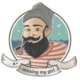 Kreskówka żeglarz brakuje jego dziewczyny Zdjęcia Stock