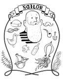 Kreskówka żeglarza modnisia ręka Rysująca Zdjęcie Royalty Free