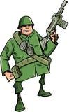 Kreskówka żołnierz z maszynowym pistoletem Fotografia Royalty Free