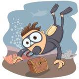 Kreskówka akwalungu pikowanie Zdjęcia Stock
