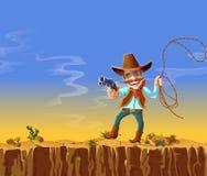 kreskówka amerykański kowboj z pistoletem i lasso royalty ilustracja