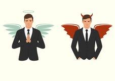 Kreskówka anioł, diabeł, wybór, skrzydła, rogi i halo i, dobry i zły, ilustracja wektor