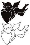 Kreskówka anioła kontur i sylwetka ilustracja wektor