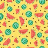 Kreskówka arbuza świeże owoc w mieszkanie stylu bezszwowym deseniowym karmowym lecie projektują wektorową ilustrację Obrazy Royalty Free