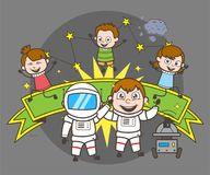Kreskówka astronauta z dzieciakami Świętuje pojęcie wektoru ilustrację royalty ilustracja
