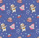 Kreskówka astronautycznego tematu bezszwowy tło royalty ilustracja