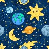 Kreskówka astronautyczny bezszwowy wzór Obrazy Stock