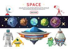 Kreskówka Astronautyczny skład Zdjęcia Royalty Free