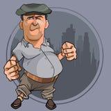 Kreskówka bellied mężczyzna z pięściami w nakrętce Zdjęcia Stock