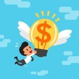 Kreskówka biznesmen i duży pieniądze pomysł Zdjęcie Royalty Free